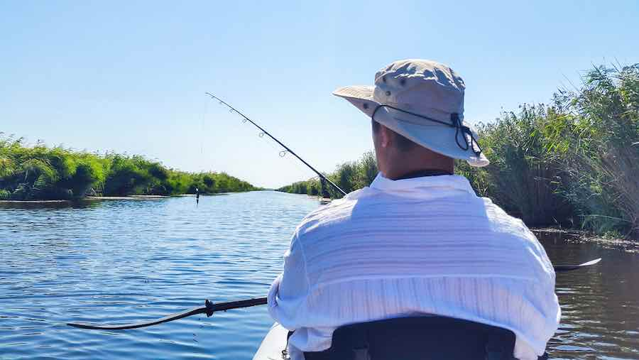 Man Fishing in Bright Sun
